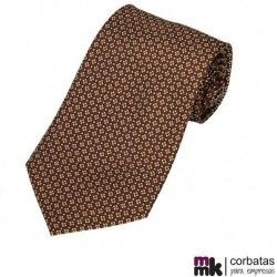 Corbata Seda Estampada Marrón